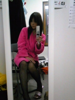 ピンクのバスローブのゆうひ