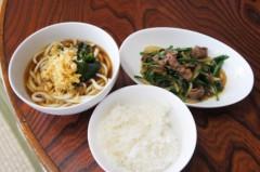 川島けん 公式ブログ/[Lunch]小たぬきうどんと小牛バラニラ炒めライス。 画像1
