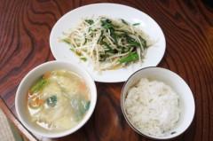 川島けん 公式ブログ/[Lunch]もやしにら炒めと鳥ワンタン春雨スープ。 画像1