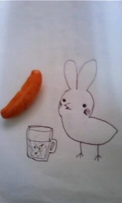 柿ピーとひよこウサギ
