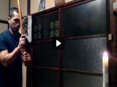"""沙人(しゃと) プライベート画像 """"剣""""と""""拳""""の蝋燭炎消し"""